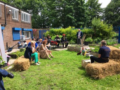 Straw bale training at Welcome Centre